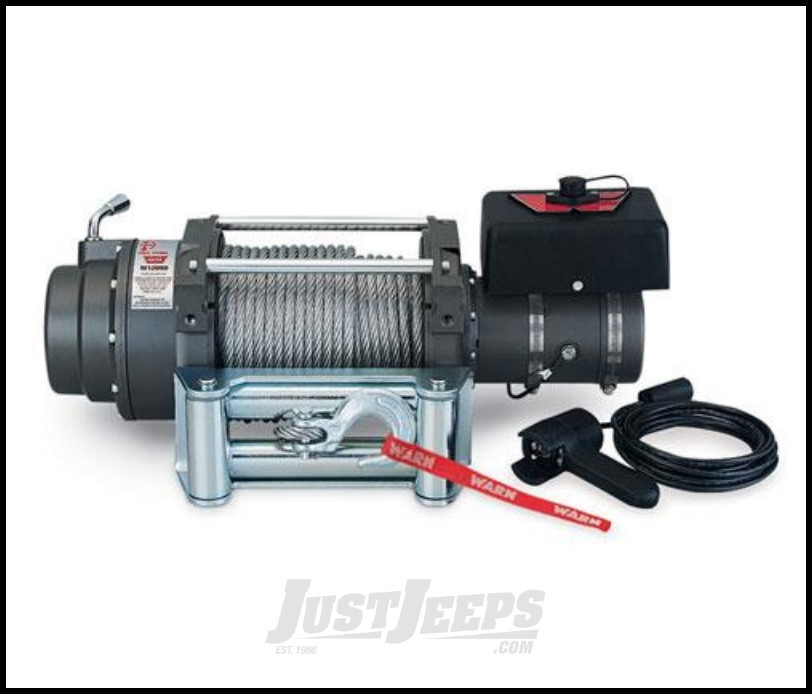 WARN M12000 Self-Recovery Winch (12V DC) 125' Wire Rope and Roller Fairlead 17801