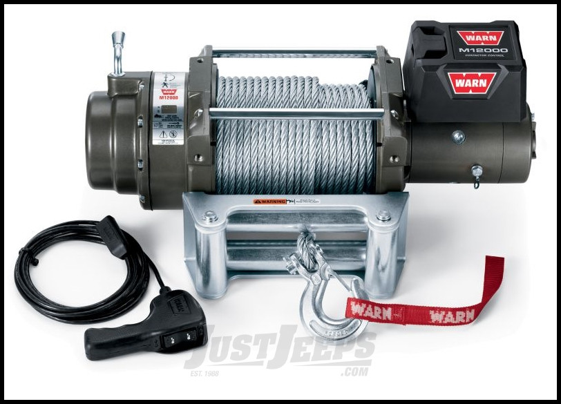 WARN M12000 Winch With 125' Wire Rope & Roller Fairlead 24 Volt
