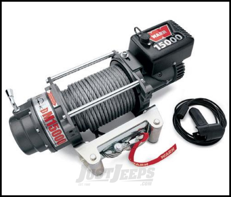 WARN M15000 Self-Recovery Winch (12V DC) 90' Wire Rope and Roller Fairlead