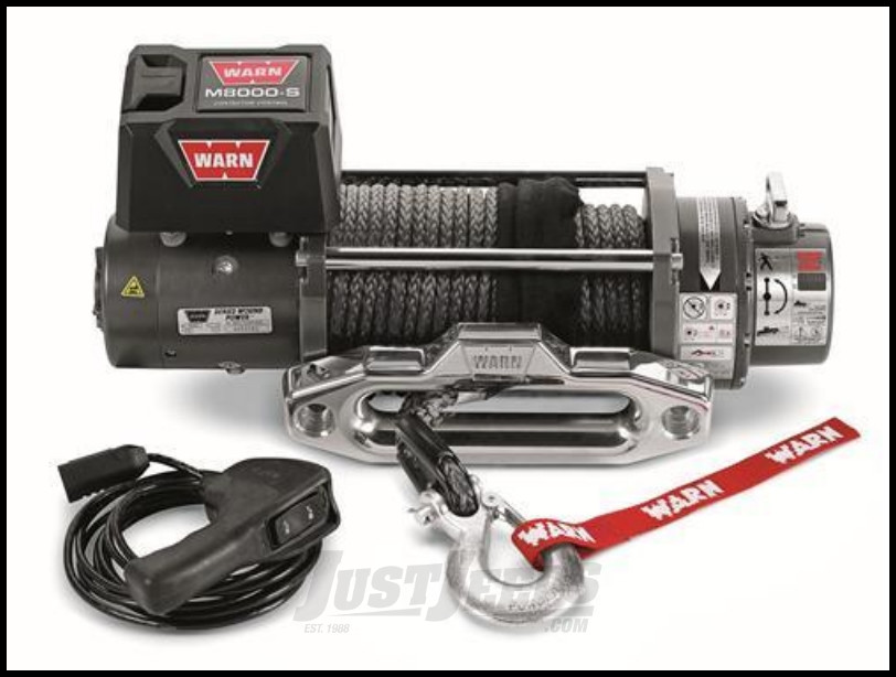 WARN M8000-S Self-Recovery Winch (12V DC) 100' Synthetic Rope and Hawse Fairlead