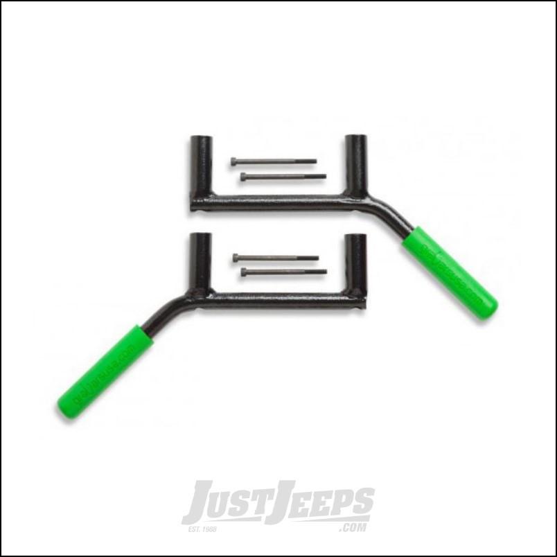 Welcome Distributing Rear GraBars Pair In Black Steel with Green Rubber Grips For 2007-18 Jeep Wrangler JK 2 Door Models