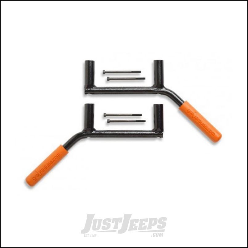 Welcome Distributing Rear GraBars Pair In Black Steel with Orange Rubber Grips For 2007-18 Jeep Wrangler JK 2 Door Models