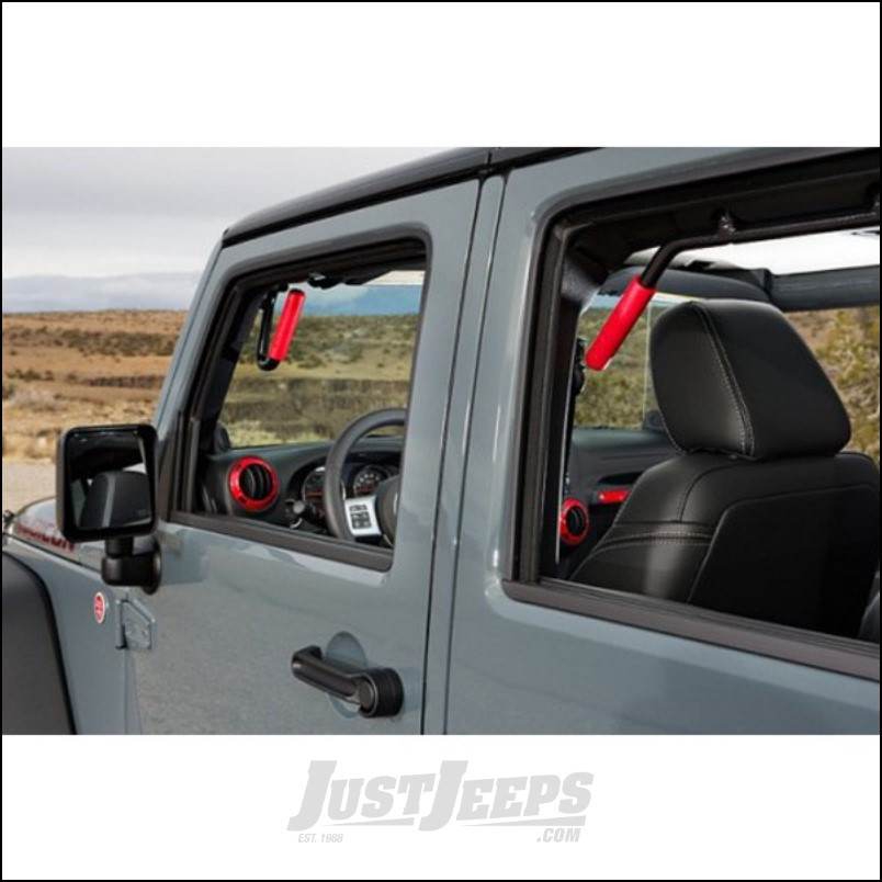 Welcome Distributing Front & Rear GraBars In Black Steel with Red Rubber Grip For 2007-18 Jeep Wrangler JK 2 Door Models 1003R