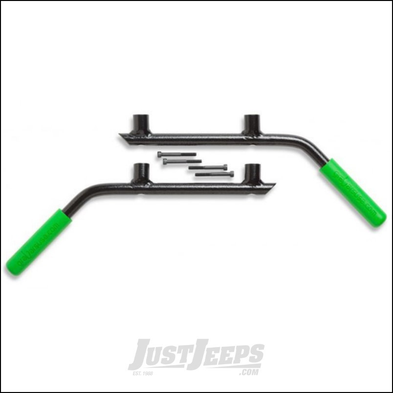 Welcome Distributing Rear GraBars Pair In Black Steel with Green Rubber Grips For 2007-18 Jeep Wrangler JK Unlimited 4 Door Models