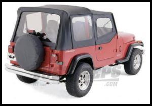 Rampage Soft Top OEM Replacement Skin & Windows With Upper Door Skins Denim Black For 1987-95 Jeep Wrangler YJ 99615