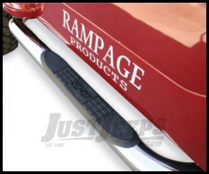 Rampage Body Side Guards With Step Polished Stainless For 2007-18 Jeep Wrangler JK 2 Door 9427