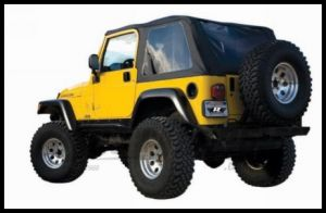 Rampage Frameless Soft Top Kit In Black Diamond With Tinted Windows For 1997-06 Jeep Wrangler TJ 109535
