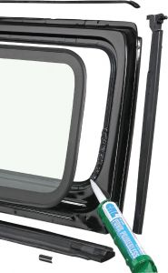 Quadratec Windshield Frame and Components for 03-06 Jeep Wrangler TJ, TLJ 12501.0004
