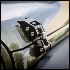 Rugged Ridge Aluminum Hood Catches in Gloss Black For 2007-18 Jeep Wrangler JK 2 Door & Unlimited 4 Door Models 11210.11