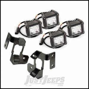 "Rugged Ridge Dual A-Pillar Gloss Black Light Mount Kit With 4 3"" Square Dual Beam LED Lights For 2007-18 Jeep Wrangler JK 2 Door & Unlimited 4 Door Models 11232.18"