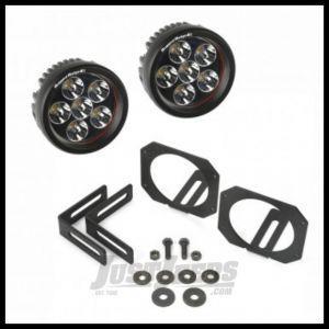 Rugged Ridge Fog Light Bracket Kit in Black with Round LED Lights For 2007-18 Jeep Wrangler JK 2 Door & Unlimited 4 Door Models 11232.27