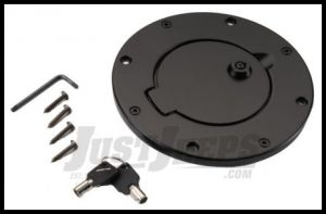 Rugged Ridge Locking Gas Hatch Cover in Black Painted Aluminum 1997-06 TJ Wrangler, Rubicon and Unlimited 11425.08