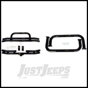 "Rugged Ridge (Gloss Black) 3"" Tubuler Bumpers And Nerf Bar Kit For 1955-75 Jeep CJ5 & Jeep CJ6 11501.01"