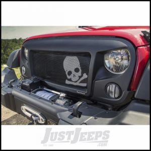 Rugged Ridge Spartan Grille Insert Black With White Skull For 2007-18 Jeep Wrangler JK 2 Door & Unlimited 4 Door Models 12034.23