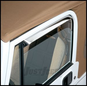 Auto Ventshade Window Deflectors In Stainless Steel For 1997-06 Jeep Wrangler TJ Models 12642