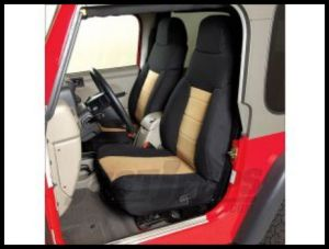 Rugged Ridge Neoprene Custom-Fit Front Seat Covers Tan on black 2003-06 TJ Wrangler, Rubicon and Unlimited 13213.04