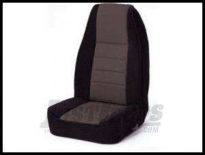 Rugged Ridge Fabric Custom-Fit Front Seat Covers Grey on black 1991-95 Jeep Wrangler YJ 13241.09