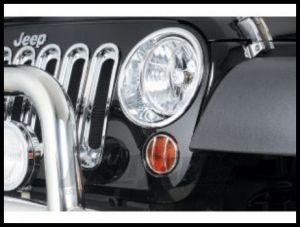 Rugged Ridge Chrome Headlight Trim Set For 2007-18 Jeep Wrangler JK 2 Door & Unlimited 4 Door Models 13311.20