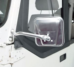 Rampage Side Mirrors In Stainless Steel Pair For 1976-95 Jeep CJ Series & Wrangler YJ (Bolts to Side of Hinge With 2 Screws) 7418