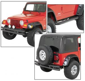 Quadratec QR3 Front Tube Bumper without Hoop, Rear Tube Bumper & Free Side Steps for 87-06 Jeep Wrangler YJ & TJ 12061J-