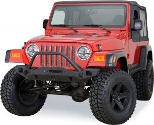 JCR Offroad Crusader Mid Width Front Winch Bumper with Hoop for 97-06 Jeep Wrangler TJ & Unlimited SWBFCTJTPC
