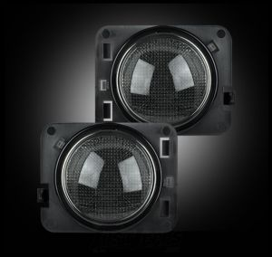 Recon Side Turn Signal LED Kit (Smoked With Amber) For 2007-18 Jeep Wrangler JK 2 Door & Unlimited 4 Door Models 264135BK