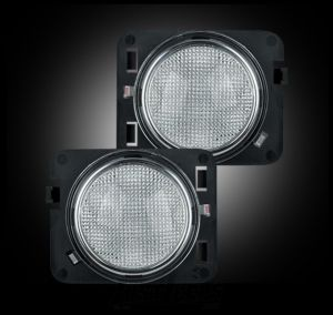 Recon Side Turn Signal LED Kit (Clear W/Amber) For 2007-18 Jeep Wrangler JK 2 Door & Unlimited 4 Door Models 264135CL