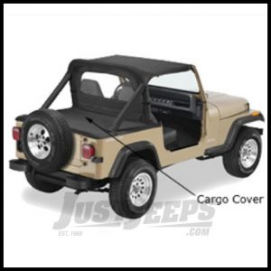 Pavement Ends Cargo Cover With Factory Soft Top Bow Folded Down Black Denim For 1992-95 Jeep Wrangler YJ 41815-15