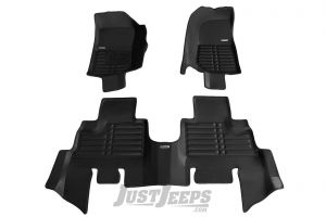 TuxMat Front & Rear Floor Mats In Black For 2007-18 Jeep Wrangler JK Unlimited 4 Door Models 42