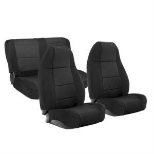 SmittyBilt Front & Rear Neoprene Seat Covers Set For 1976-90 Jeep Wrangler YJ & CJ-7 Models 471001-