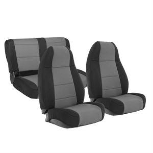 SmittyBilt Neoprene Front & Rear Seat Cover Kit in Black/Gray For 1991-95 Jeep Wrangler YJ 471122