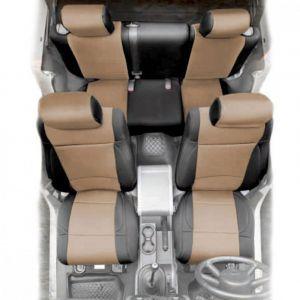 SmittyBilt Neoprene Front & Rear Seat Cover Kit in Black/Tan For 2013-18 Jeep Wrangler JK 2 Door Models 471525