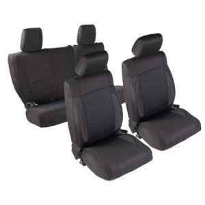 SmittyBilt Neoprene Front and Rear Seat Cover Kit In Black For 2008-12 Jeep Wrangler JK Unlimited 471701