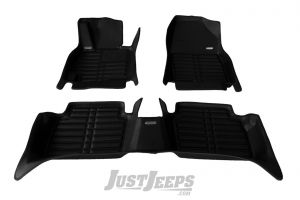 TuxMat Front & Rear Floor Mats In Black For 2018+ Jeep Wrangler JL 2 Door Models 475