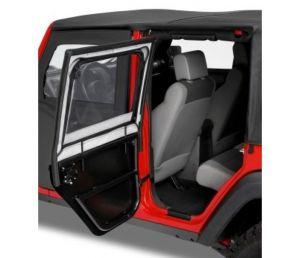 BESTOP HighRock 4X4 Element Rear Upper Doors For 2007-18 Jeep Wrangler JK Unlimited 4 Door Models (Black Twill) 51806-17