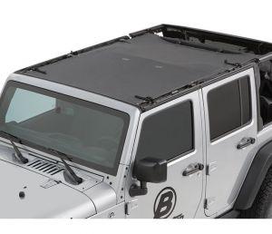 BESTOP Sun Bikini Safari Style Top In Black Diamond For 2007-18 Jeep Wrangler JK Unlimited 4 Door Models 52401-35