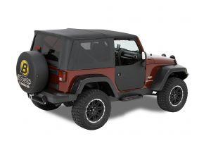 BESTOP Front Fabric Half Doors Lowers In Black For 2007-18 Jeep Wrangler JK 2 Door & Unlimited 4 Door Models 53040-35