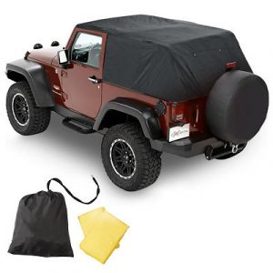 Pavement Ends Emergency Top In Black Denim For 2007-18 Jeep Wrangler JK 2 Door (Fits With Full Doors) 56814-01