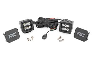 """Rough Country 2"""" Square Cree LED Lights Black Series -Spot (Pair) 70903BL"""