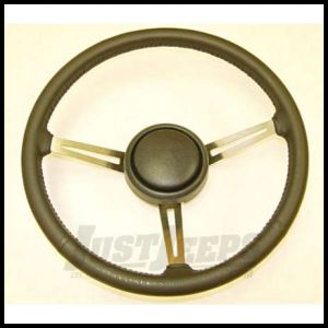 Omix-ADA Steering Wheel Kit Leather Black With Horn Button For 1976-95 Jeep CJ Series, Wrangler YJ & Full Size 18031.08