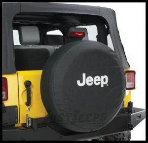 MOPAR Jeep Tire Cover in Black Denim with White Jeep Logo  82209953AB