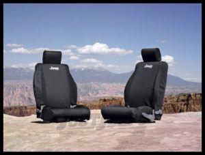 MOPAR (Black) Front Seat Covers For 2007-10 Jeep Wrangler JK 2 Door & Unlimited 4 Door Models 82210331AB