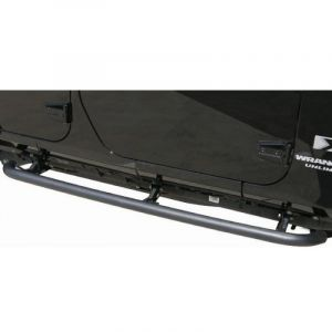 Rampage SRS Side Bar With Retractable Rocker Guard Step Textured Finish For 2007-18 Jeep Wrangler JK Unlimited 4 Door Models 88732