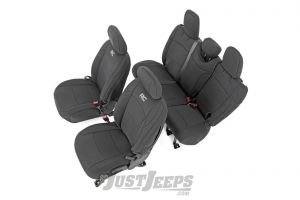 Rough Country Front and Rear Neoprene Seat Covers For 2018+ Jeep Wrangler JL Unlimited 4 Door Models (With Rear Arm Rests) 91012