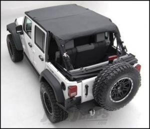 SmittyBilt Extended Brief Top and Windshield Channel Bundle in Black Diamond For 2007-09 Jeep Wrangler JK Unlimited 4 Door Models BIKIJK0709435