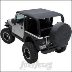 SmittyBilt Extended Brief Top and Windshield Channel Bundle in Black Diamond For 1997-06 Jeep Wrangler TJ Models BIKITJ970635