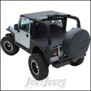 SmittyBilt Brief Top and Windshield Channel Bundle in Black Denim For 1992-95 Jeep Wrangler YJ BIKIYJ929515B