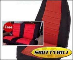 SmittyBilt Neoprene Front & Rear Seat Cover Kit in Black/Red For 1991-95 Jeep Wrangler YJ 471130