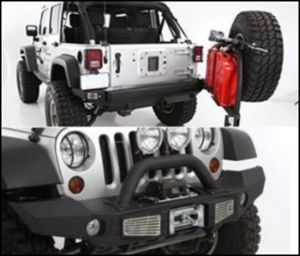 SmittyBilt Genuine Packages XRC Atlas Front and Rear Bumper with Tire Carrier in Black For 2007-18 Jeep Wrangler JK 2 Door & Unlimited 4 Door Models ADDJKSPECIAL03