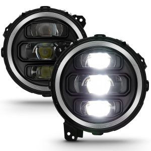 ANZO USA Full LED Projector Headlights in Black For 2018+ Jeep Gladiator JT & Wrangler JL & JL Unlimited 111466